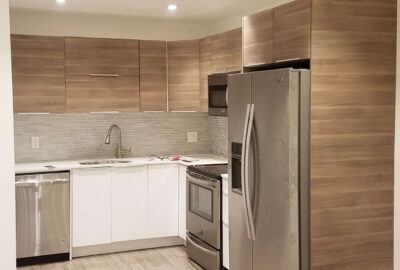Wooden Tiled Sink and Refigerator