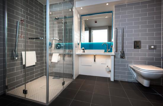 Glass and Grey Tile Bathroom with Sink