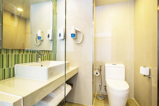 Glass Bathroom with Green Tile