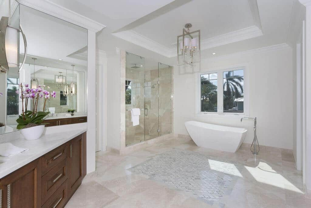 Wide Bathroom with Marble Tiled